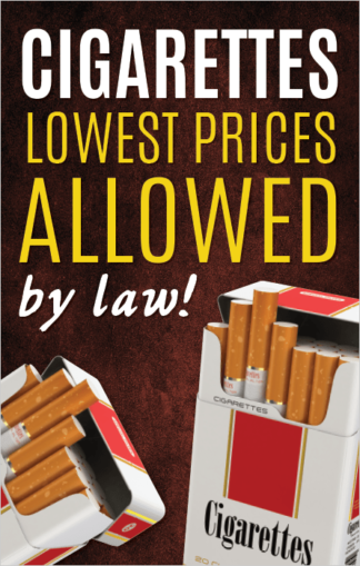 Cigarettes Lowest Prices Allowed by Law Poster Frame Insert