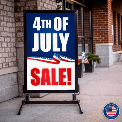 Curb Sidewalk Sign Frame with 4 of July Sale Insert