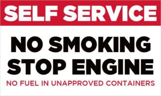 Self Service - No Smoking - Stop Engine Fuel Pump Decal